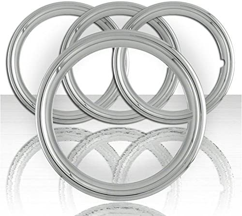 Upgrade Your Auto Set of Four 15 Polished Stainless Steel 1 1//2 Deep Wheel Trim Rings