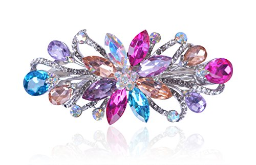 Sankuwen Flower Luxury Jewelry Design Hairpin Rhinestone Hair Barrette Clip ()