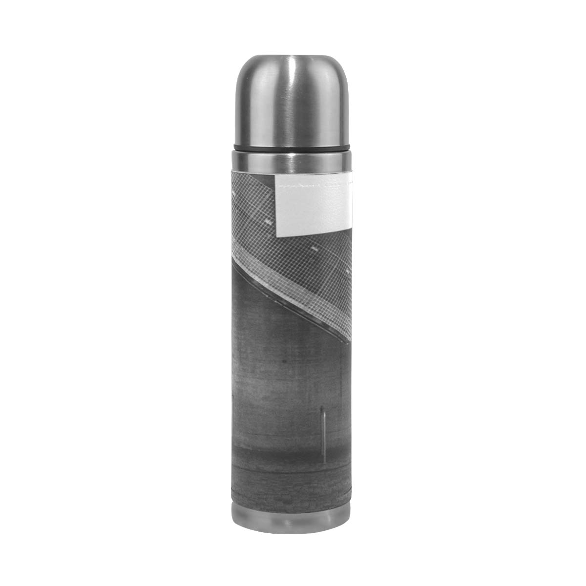 Light Abstract Black And White Architecture Wood 500ML Stainless Steel Double Walled vacuum insulated water bottle Travel Mug Leather Cover Thermos 17 oz