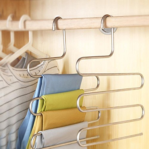 Funny Frogs Foil - Agordo 5 Layers S Type Pant Hanger Stainless Steel Trousers Towel Holder Rack Silver