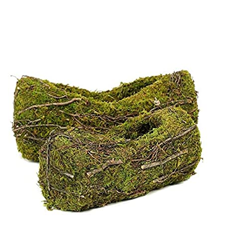 14 /& 12 Oval Preserved Natural Moss Centerpiece Planter Baskets with Twigs Barks /& Twine Decor Efavormart Set of 2