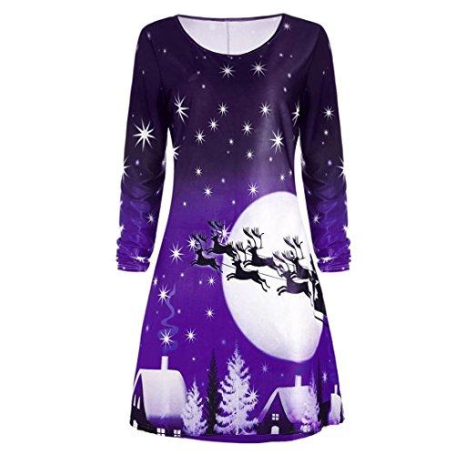 Zarupeng Frauen Weihnachten Druckte Kleid Damen Langarm Abend Party Knie  Langen Kleid Violett 6LGJjRfmQx 4b5acba658