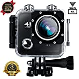 Sports Camera Sport Video 4k 1080P HD WIFI Action Camera 16MP Waterproof Camcorder Underwater 30M Cam with 170 Wide Angle Rechargeable Battery DV Black