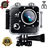 Action Camera SOUTHSTARDIGITAL  4K WIFI 16MP Waterproof Sports Camera Camcorder Underwater 30M HD Sport Video 170 Wide Angle Cam Rechargeable Battery DV Black