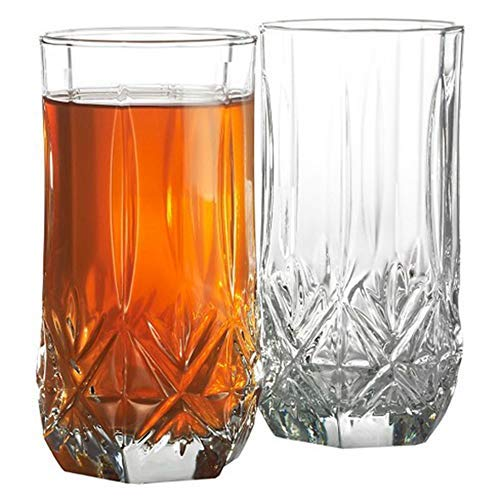 Water Glasses Highball, Set of 12-16oz. USA MADE! LEAD FREE! Elegant! Cut Crystal Like! Old-Fashion! Great Quality! Expensive Look WITHOUT HI COST! For Daily Use, Special Occasions & Holiday Season