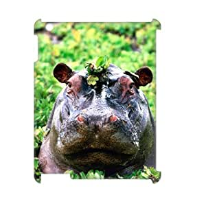 LZHCASE Diy Cover Custom Case Hippo For IPad 2,3,4 [Pattern-1]