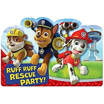 Amazing Paw Patrol Birthday Party Postcard Invitation Cards Supply 8 Pack Blue