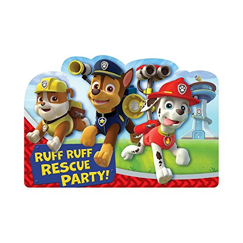 Amazing Paw Patrol  Birthday Party Postcard Invitation Cards Supply (8 Pack), Blue/Red, 6 1/4