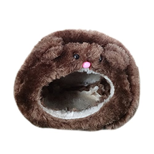 Da.Wa Flannel Cute Hammock Hanging Sleeping Bed Nest House Warm Hamster Supplies Nest with Mat for Rat Hamster Parrot Squirrel (Brown)