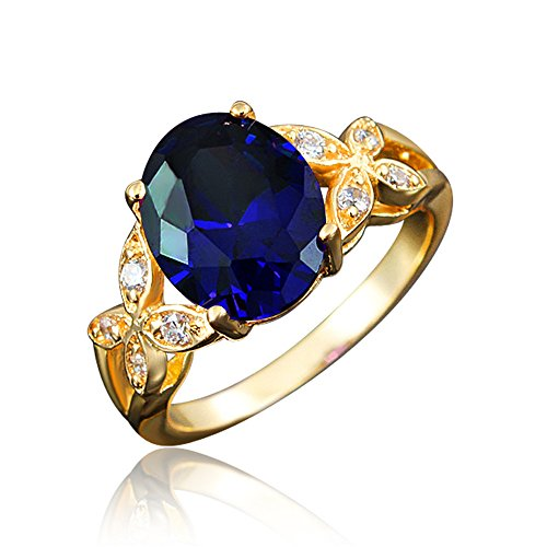 BLOOMCHARM 'My Soul' 18K Rose Gold Plated Cubic Zirconia Engagement Wedding Ring, Gifts for Women Girls (Navy Blue, 9)