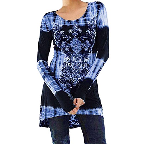 IEason Women Blouse Women's Casual Long Sleeve Blouse O Neck Tops Digital Printed Shirt (XL, Blue) - Adapter Womens Long Sleeve