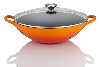 Le Creuset - Wok con tapa (hierro y cristal, 32 cm), color