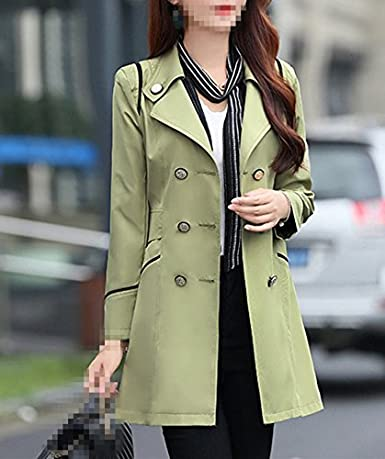 bb1f6894899 Amazon.com  Verypoppa Women s Spring Autumn Jacket Double Breasted Lapel  Long Sleeve Trench Coat Tops  Clothing