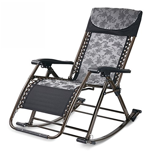 Recliner Swing Dual (Multifunctional Rocking Chair Wisdom Chair Health Chair Deck Chair Folding Lounge Chair Living Room Dual-use Office Chair (Color : Black))