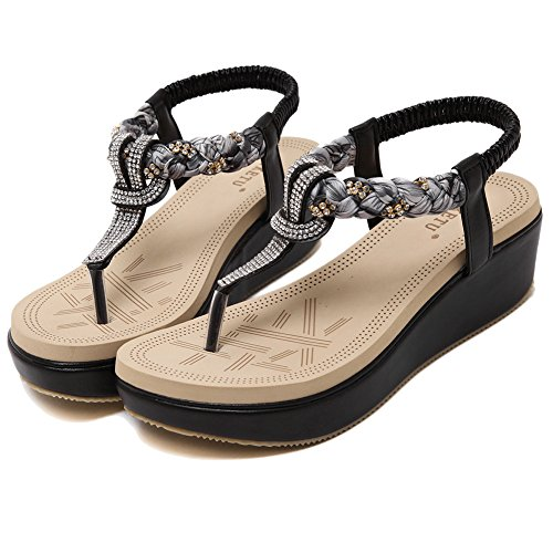 Black Sandals Thong Sandles Women Wentsven Wedge Bling Beaded Platform U08w6ZqR