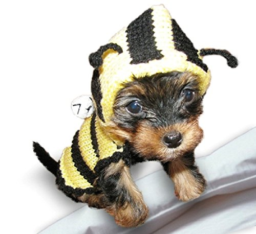 Bee Dog Sweater Costume Teacup Dog Clothes Small Yorkie Chihuahua Puppy Hoodie Apparel Sizes (XXXS)