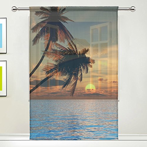 Hawaiian Palm Trees Sea Ocean Sunset Sheer Curtain for Living Dining Room Bedroom 55 x 84 Inches Long Orange Window Treatments Rod Pocket Polyester Fabric
