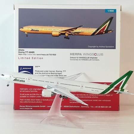 会員 ヘルパ 1500 B777-300ER アリタリア航空 EI-WLA Alitalia Airlines ボーイング777-300ER クラブ会員 限定 モデル herpa スタンド付 B07SXF87SB