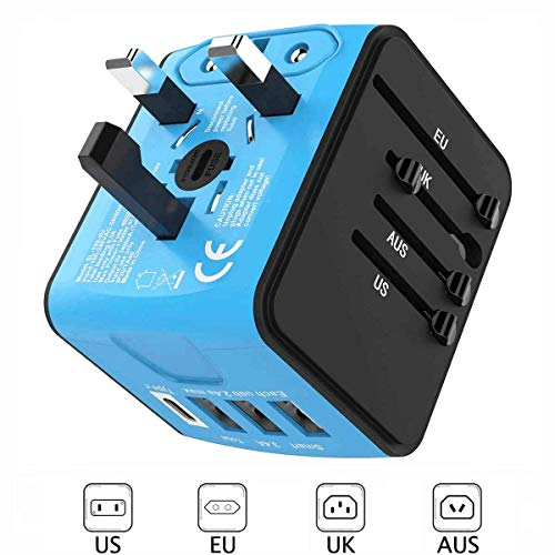 European Travel Adapter,Universal Travel Adapter, International Travel Electrical Adapter, UK Power Adapter, Worldwide AC Outlet Plug Adapter with 3 USB & USB-C Charger for Over 170 Countries (Blue)