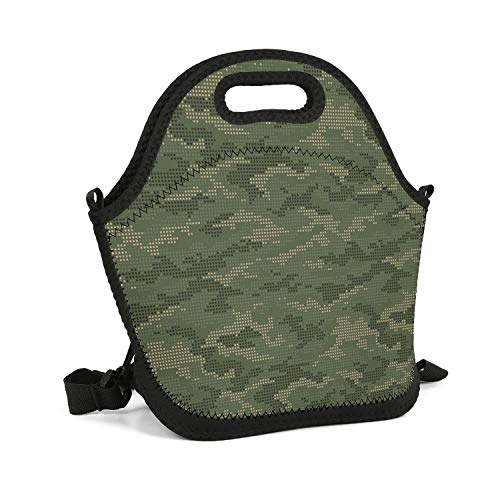 (HailinED Green Army Digital Camo Portable Lunch Box Insulated Lunch Bag Lightweight Carry Boxes Cooler Tote Bag for School Work Office Picnic Gym)