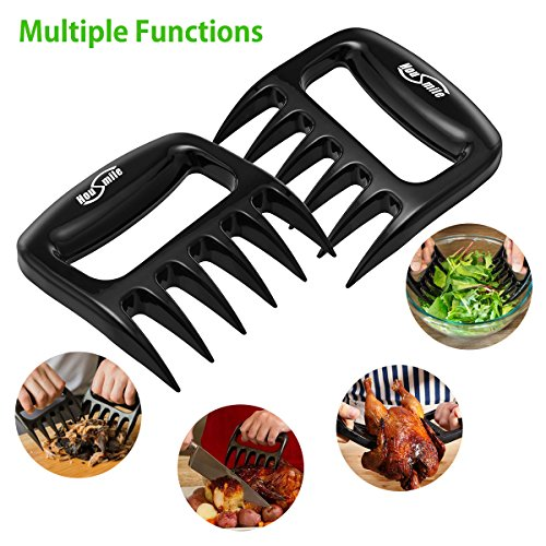 Housmile BBQ Grilling Cooking Gloves with Pork Meat Claws, Grill Brush & Kitchen Tong, Silicone Gloves Heat Resistant Up to 446F, Non-Slip 4-Piece BBQ Grill Accessories for Barbecue Party, Baking by Housmile (Image #3)