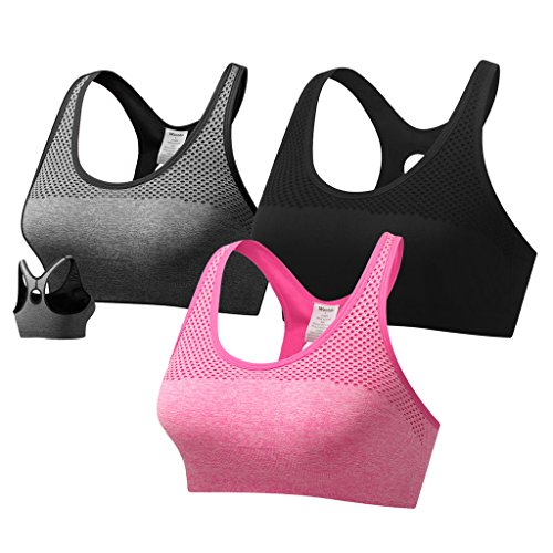 Wantdo Women's Compression Racerback Light Support Wirefree Mesh Seamless Soft Yoga Sports Bra 3 Pack Medium