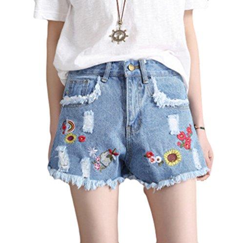 Aderenti Jeans Pantaloni Fuori Dexinx Signore Mini Azzurro Estivi alla della Moda Denim Spiaggia Caldi Strappato Tagliato Pantaloncini Tf0pT