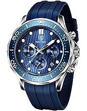 BENYAR Montre Elegante pour Hommes Chronographe de Mouvement à Quartz Sport Bracelet en Silicone 30M Imperméable La Mode Cadeau