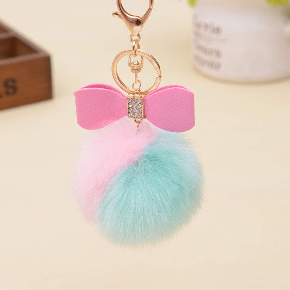cuiyoush Artificial Rabbit Fur Ball Fluffy Keychain Car Key Chain Handbag Phone Key Ring Black+White