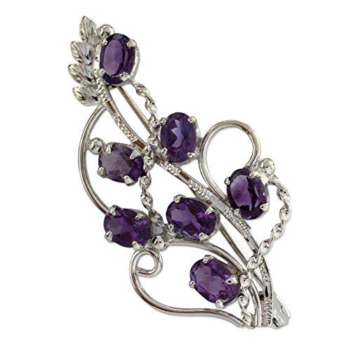 (NOVICA Amethyst .925 Sterling Silver Floral Brooch 'Lilac Story')
