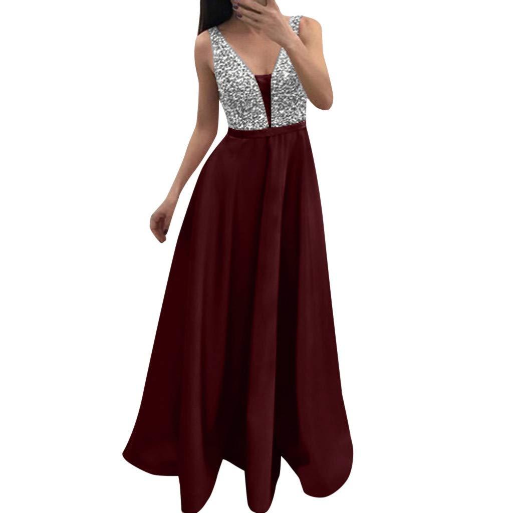 Women Evening Dress Sequin V-neck Sleeveless Party Dress Prom Wedding Dress Cocktail Dress
