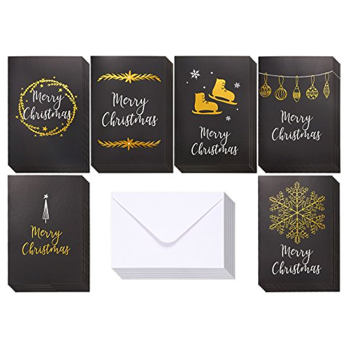 36-Pack Merry Christmas Greeting Cards Bulk Box Set - Winter Holiday Xmas Greeting Cards in 6 Black Designs with Gold Foil Accents, Envelopes Included, 4 x 6 - Christmas Greetings