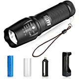BAKTH Super Bright CREE XML T6 LED Tactical Flashlight, Outdoor Handheld Zoomable 5 Light Modes Water Resistant flashlight with USB Charger & 18650 Rechargeable Battery