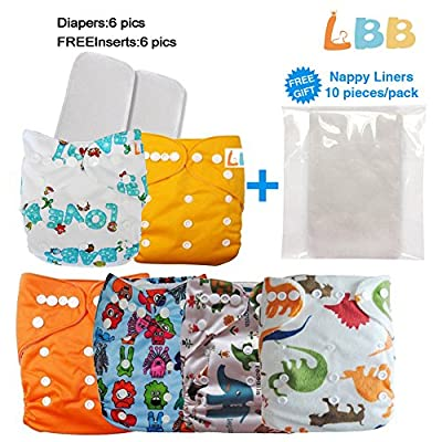 Baby Pocket Cloth Diapers Reusable with Adjustable Snaps, 6 pcs + 6 Inserts combined by 1000LOVE that we recomend personally.