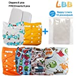 Image: ALVABABY Baby Cloth Diapers   Adjustable Washable and Reusable Fitted Diapers   All-in-one size   Waterproof   Strong absorbent material with breathability