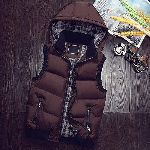 Jacket Hooded Coat Men's Down Warm Men Sleeveless Braun Winter Men Quilted Vest Unique Coat Vest tXtRw