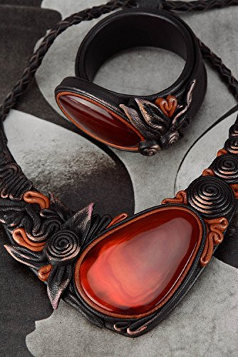 - Jewelry Set Made Of Genuine Leather And Cow Horn