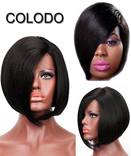 COLODO Yaki Straight Short Sasson Style Bob L Part Synthetic Lace Front Wigs for Women Black Color Heat Resistant Fiber (Caucasian Wigs)