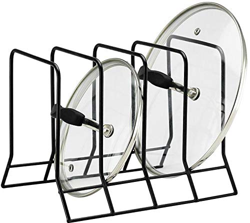 Kitchen Bakeware Pot Lid Rack Holder Organizer (Black) (Rack Pan Lid)