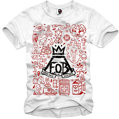 E1SYNDICATE MENS T-SHIRT FOB FALL OUT BOY TOUR CONCERT TICKET COLLAGE S/M/L/XL (Tour Child Ticket)