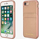 Michael Kors Saffiano Leather Pocket Case for iPhone 7/8 Rose Gold