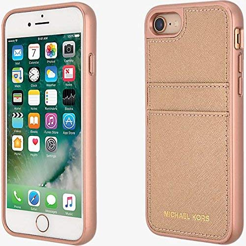 877b11597b0fe2 Image Unavailable. Image not available for. Color: Michael Kors Saffiano  Leather Pocket Case for iPhone 7/8 Rose Gold
