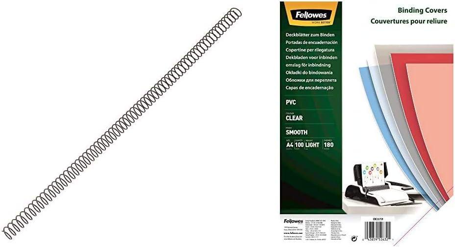 Fellowes 5110301 - Pack de 100 espirales metálicas 10 mm, negras + Portadas para encuadernar de PVC transparente, formato A4, 180 micras, pack de 100