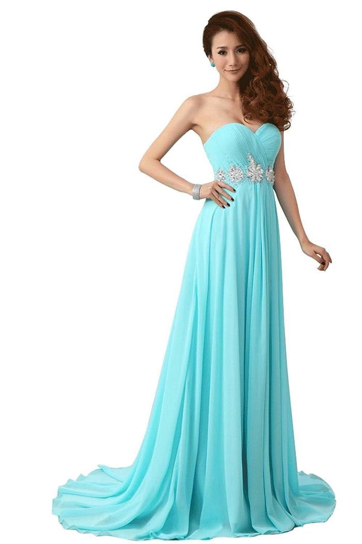 Beauty-Emily Frauen trägerlosen Kristall lange formale Abendkleider,blau,Größe 32