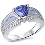 Simulated Tanzanite, Lab Created White Opal & Cz .925 Sterling Silver Ring sizes 6-9
