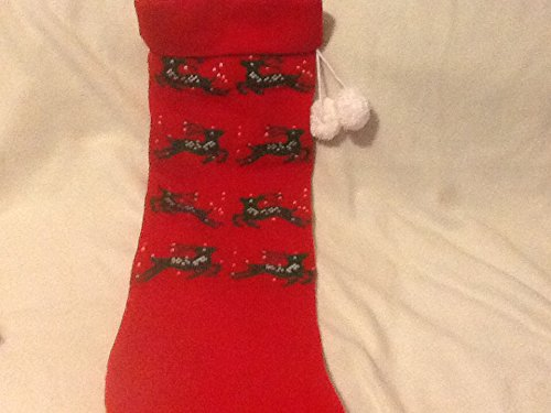 Christmas Stocking, Red Knit Christmas Stocking Accented with Reindeer