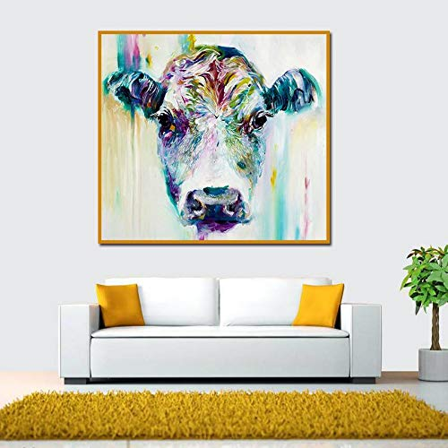 BFY Frameless Modern Abstract Oil Painting Female Ox-head Huge Wall Decor Art On Canvas by BFY (Image #2)