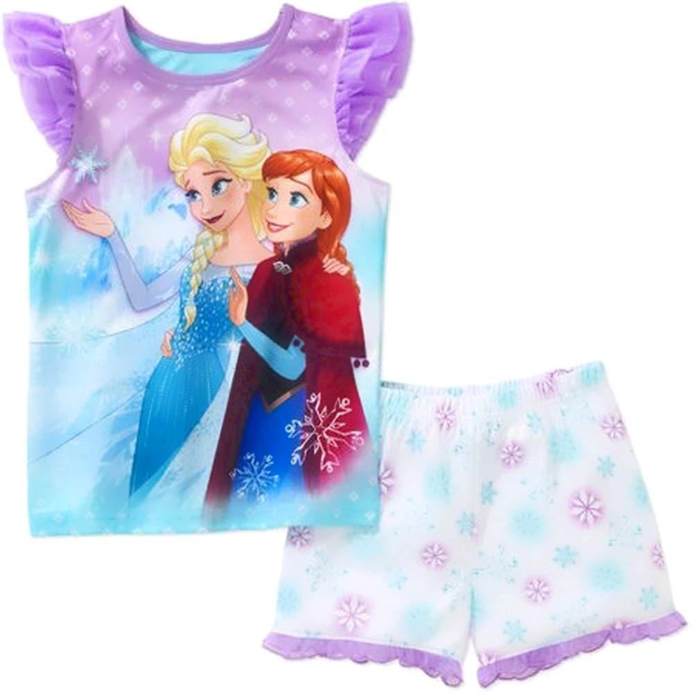 Disney Girls Size 7//8 Anna and Elsa Snowflake Tulle Satin Pajama Set
