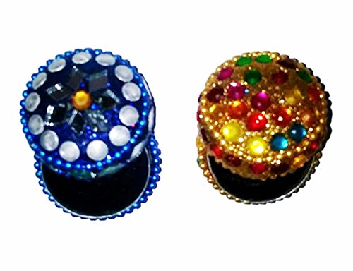 Beaded Patchwork Design Mini Box Set of 2 Color : Blue, (Steel Side Boxcar)