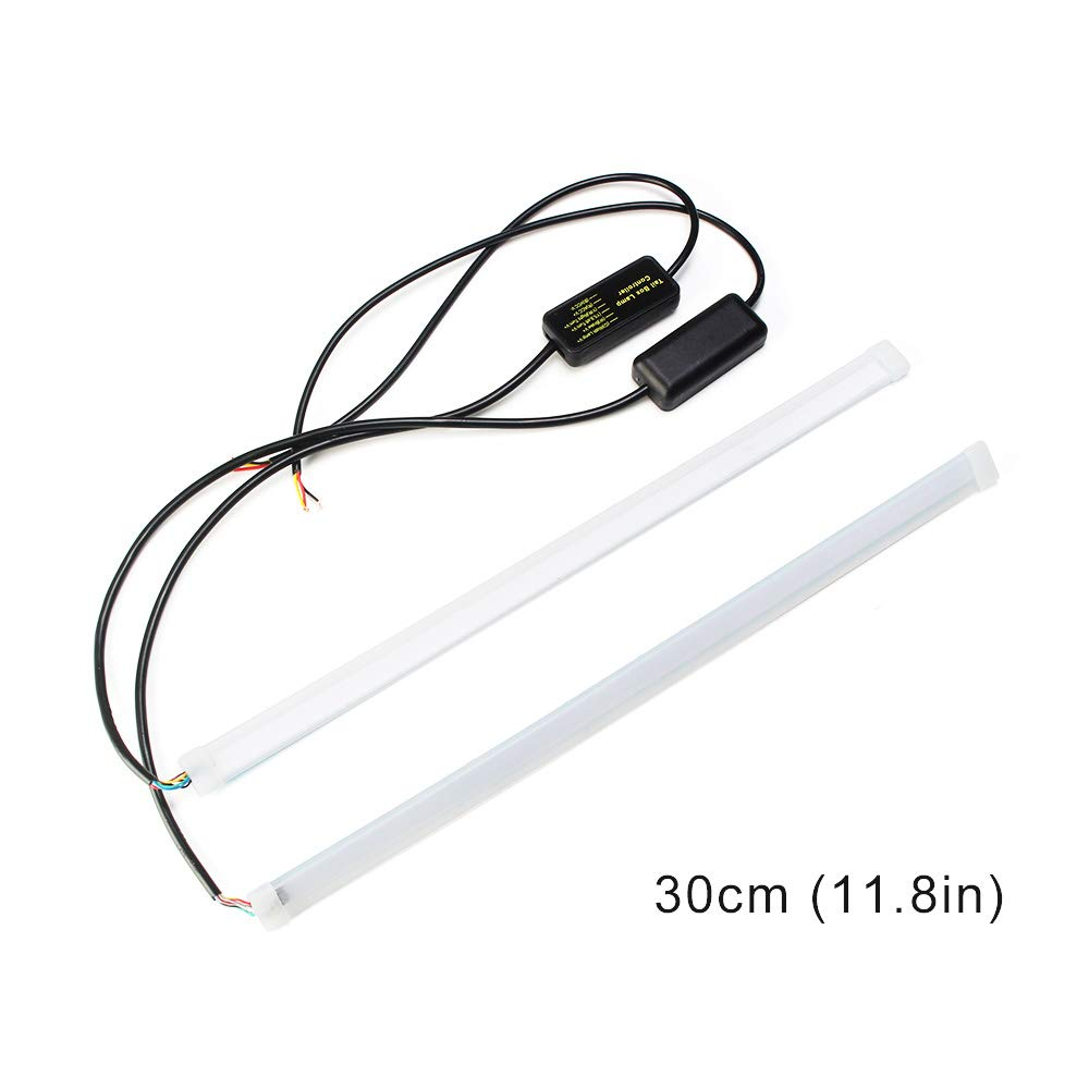 Xenon white//Amber Xinfok 30cm New Slim Amber Sequential Flexible LED DRL Strip For Headlight daytime running light withe yellow turn signal lamp 12V